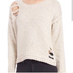 Wildfox Cream Destroyed Oversized Pebbled Sweater